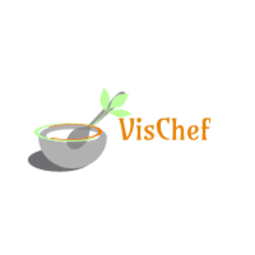 VisChef's logo, a bowl containing a spoon, where the spoon has a green leaf overlaying it. to its right is the company's name.